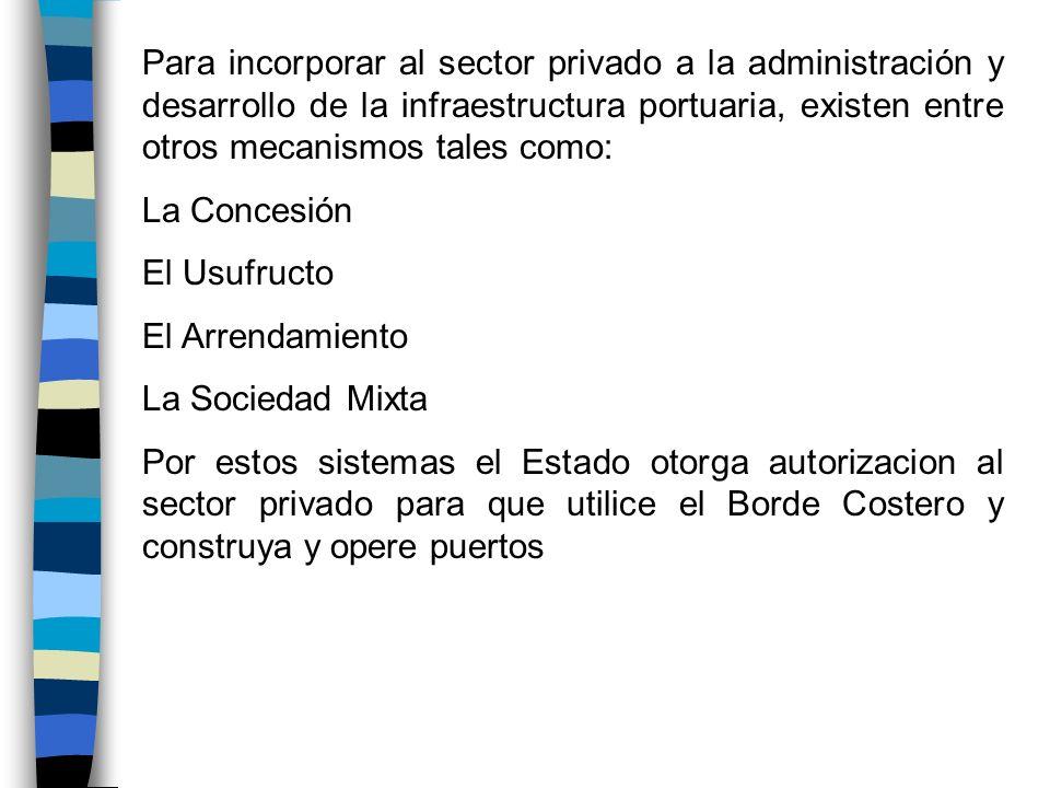 Para incorporar al sector privado a la administración y desarrollo de la infraestructura portuaria, existen entre otros mecanismos tales como: