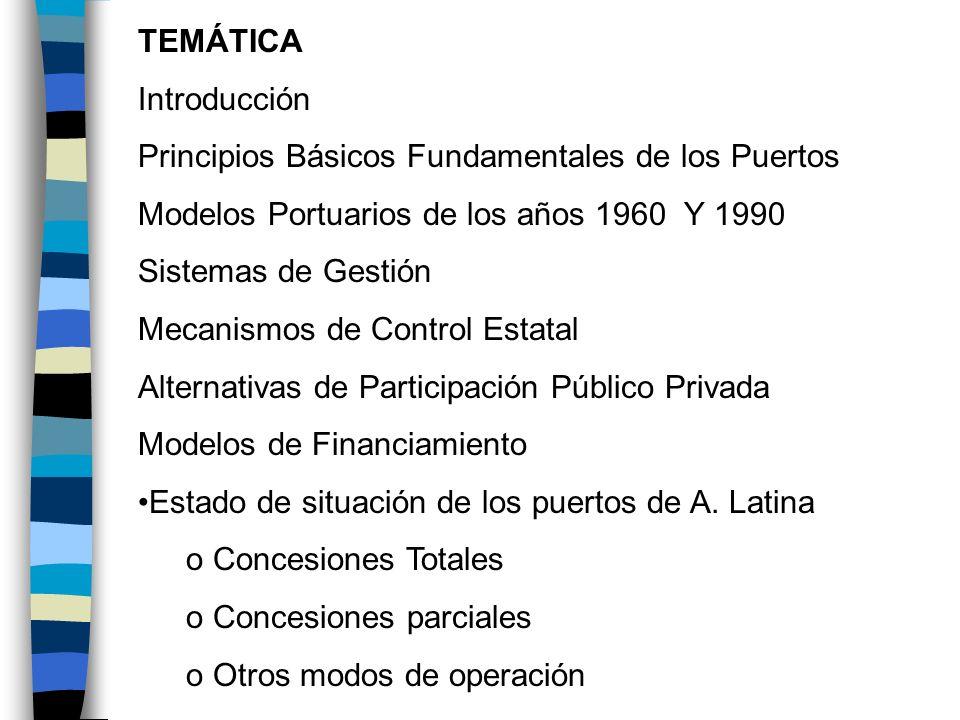 TEMÁTICA Introducción. Principios Básicos Fundamentales de los Puertos. Modelos Portuarios de los años 1960 Y 1990.
