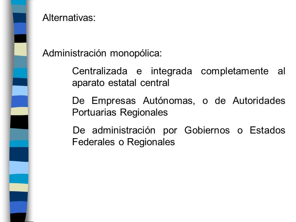 Alternativas:Administración monopólica: Centralizada e integrada completamente al aparato estatal central.
