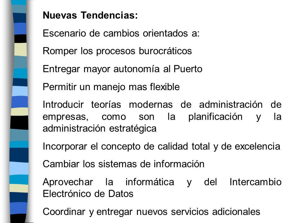 Nuevas Tendencias:Escenario de cambios orientados a: Romper los procesos burocráticos. Entregar mayor autonomía al Puerto.