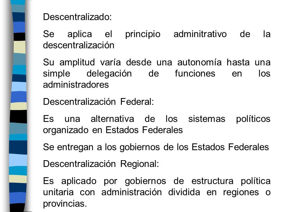 Descentralizado:Se aplica el principio adminitrativo de la descentralización.