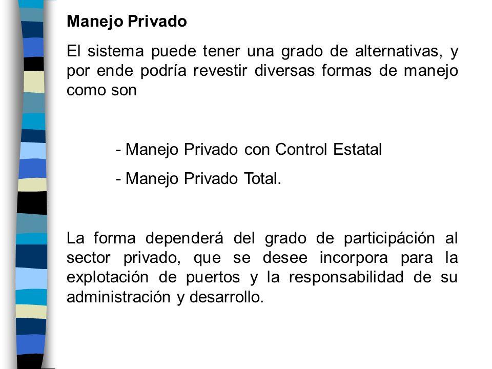 Manejo PrivadoEl sistema puede tener una grado de alternativas, y por ende podría revestir diversas formas de manejo como son.