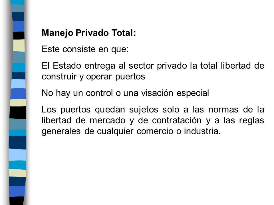 Manejo Privado Total: Este consiste en que: El Estado entrega al sector privado la total libertad de construir y operar puertos.