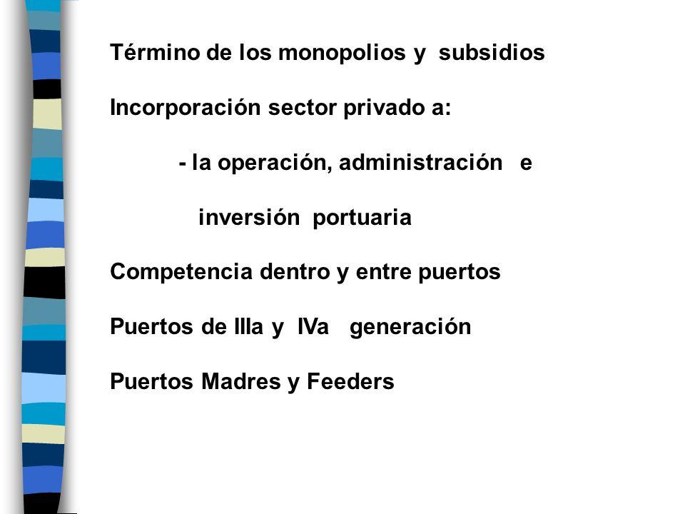 Término de los monopolios y subsidios