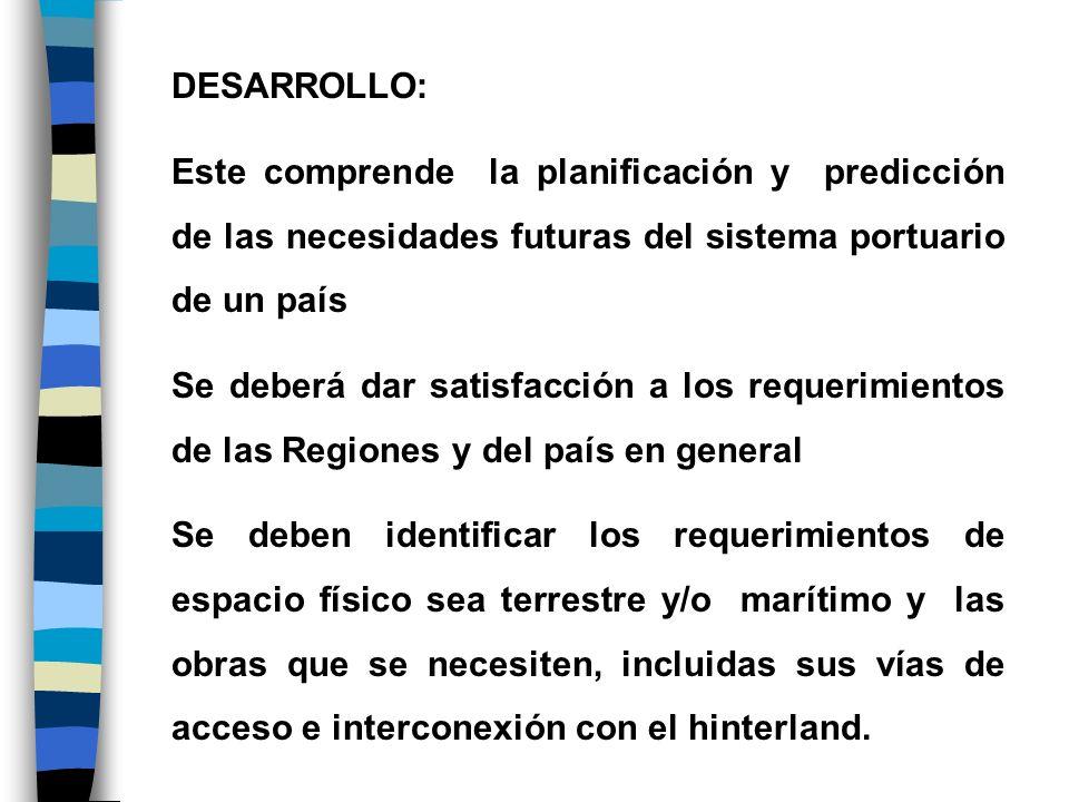 DESARROLLO:Este comprende la planificación y predicción de las necesidades futuras del sistema portuario de un país.