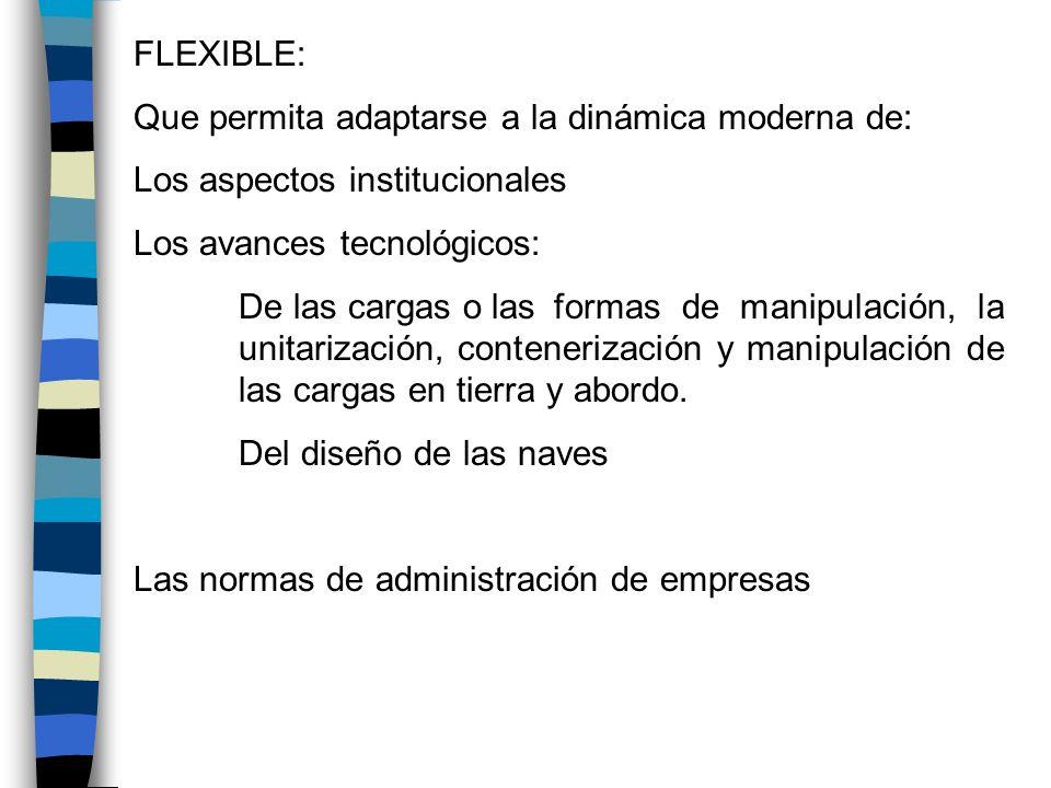 FLEXIBLE: Que permita adaptarse a la dinámica moderna de: Los aspectos institucionales. Los avances tecnológicos: