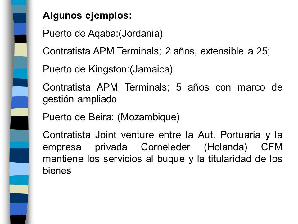 Algunos ejemplos:Puerto de Aqaba:(Jordania) Contratista APM Terminals; 2 años, extensible a 25; Puerto de Kingston:(Jamaica)