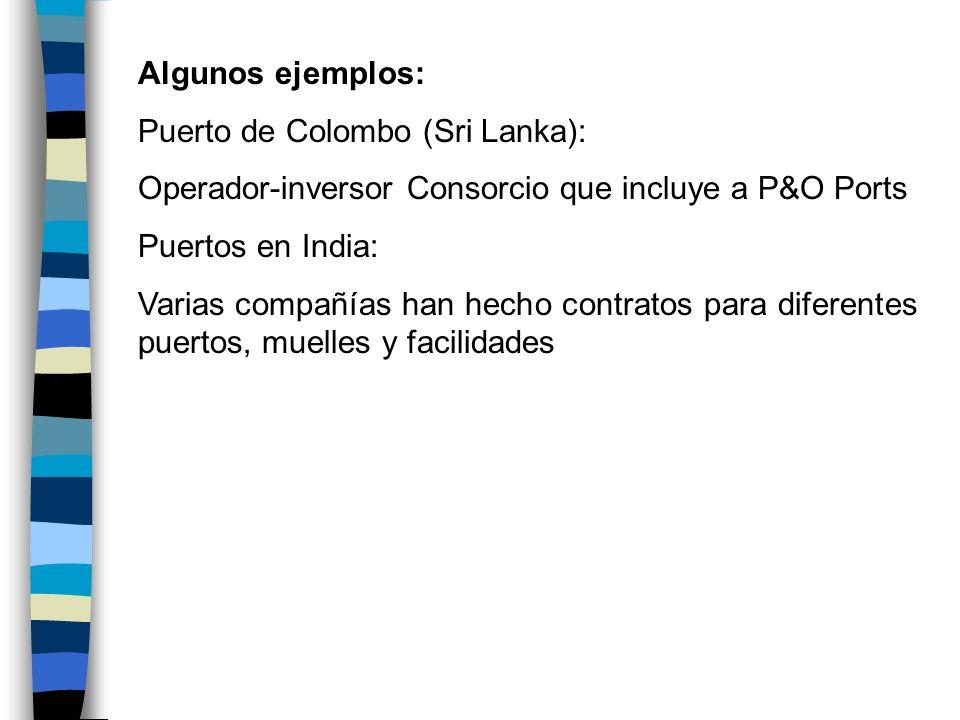 Algunos ejemplos:Puerto de Colombo (Sri Lanka): Operador-inversor Consorcio que incluye a P&O Ports.