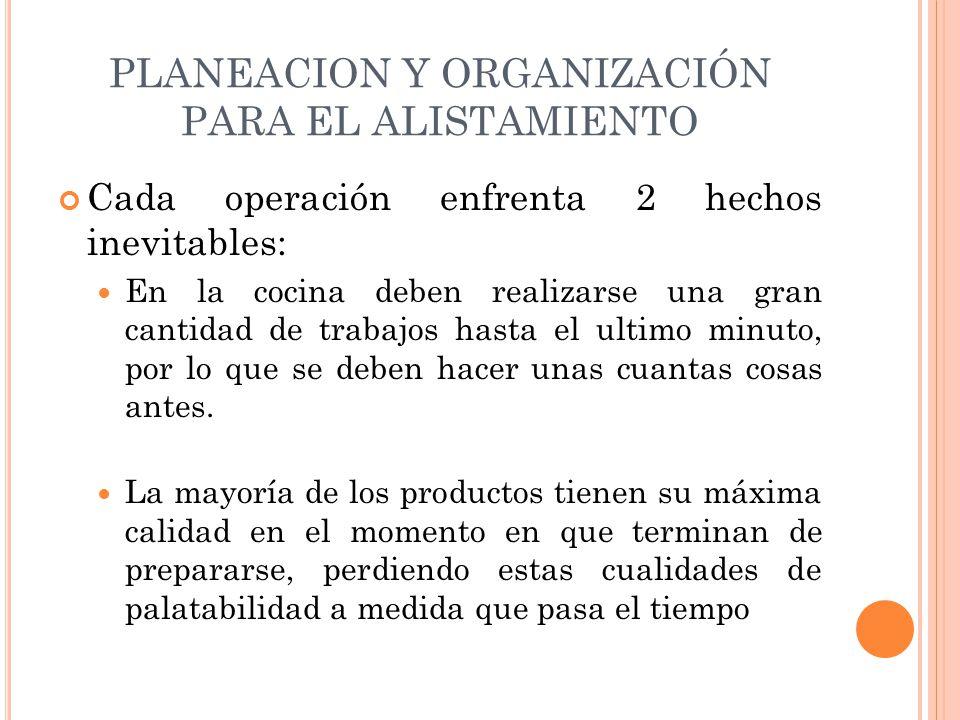 PLANEACION Y ORGANIZACIÓN PARA EL ALISTAMIENTO