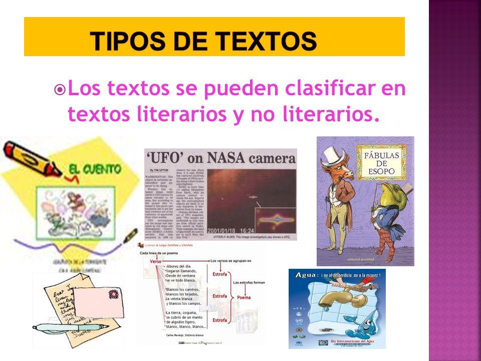 TIPOS DE TEXTOS Los textos se pueden clasificar en textos literarios y no literarios.