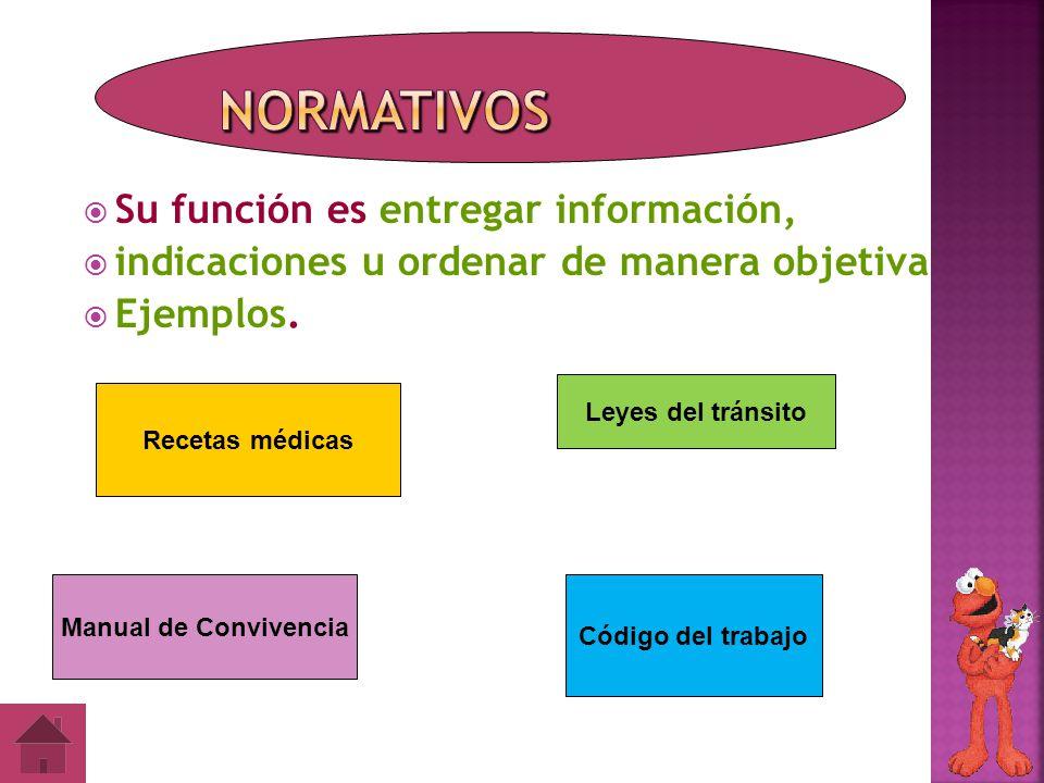 Normativos Su función es entregar información,