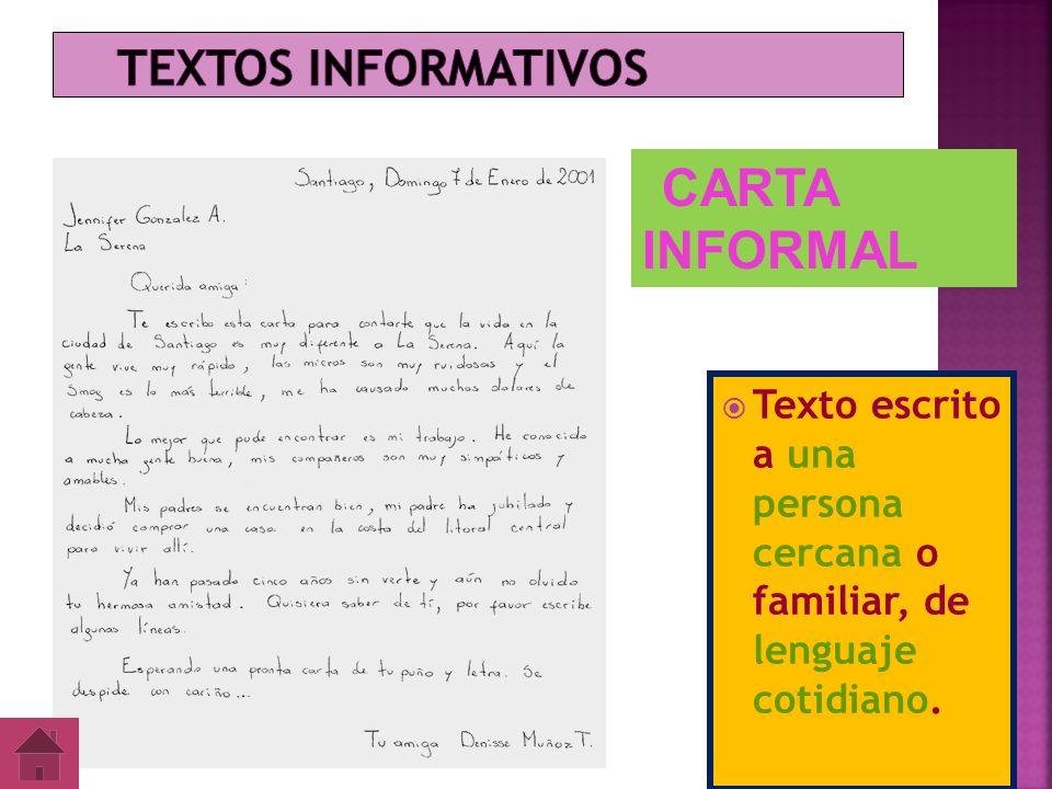 Textos informativos CARTA INFORMAL.