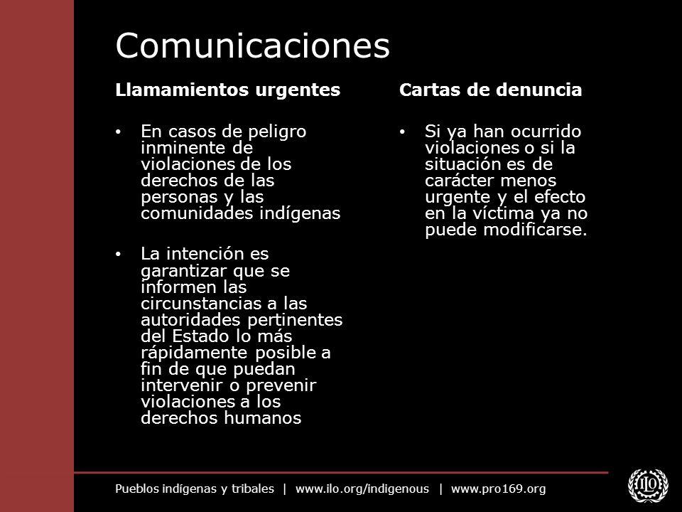 Comunicaciones Llamamientos urgentes