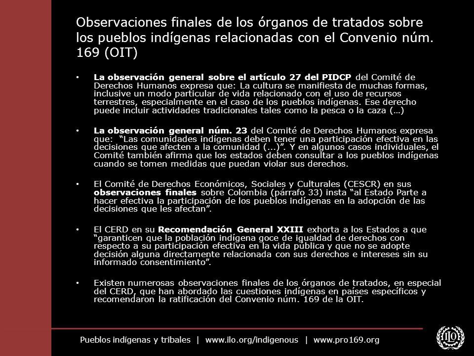 Observaciones finales de los órganos de tratados sobre los pueblos indígenas relacionadas con el Convenio núm. 169 (OIT)