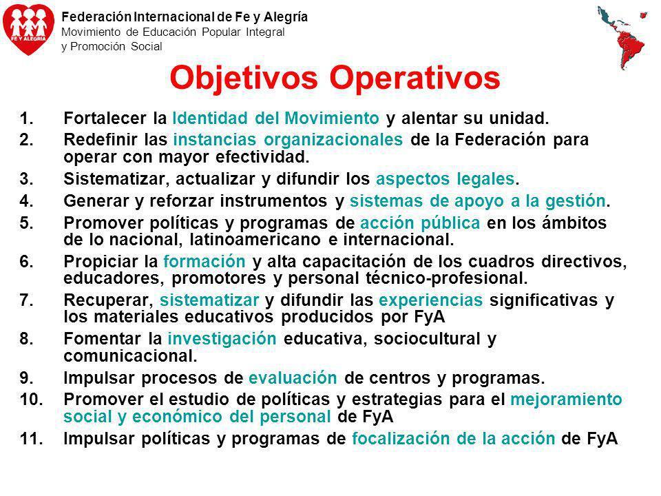 Objetivos Operativos Fortalecer la Identidad del Movimiento y alentar su unidad.