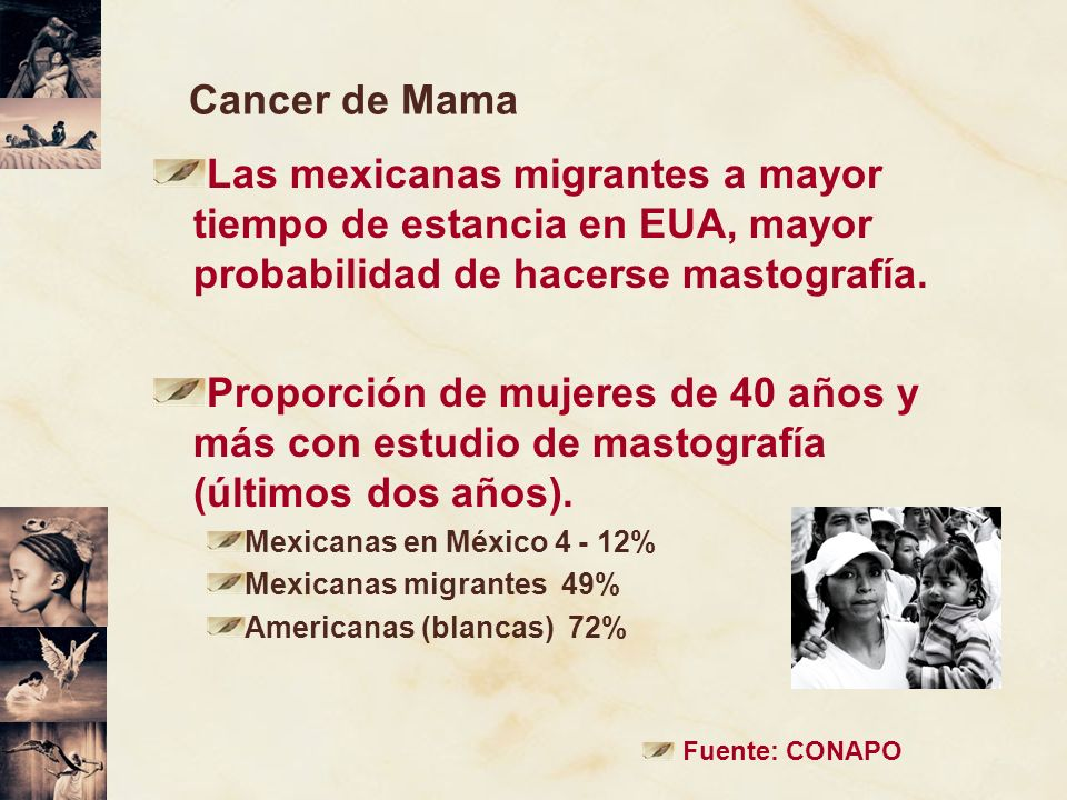 Cancer de MamaLas mexicanas migrantes a mayor tiempo de estancia en EUA, mayor probabilidad de hacerse mastografía.