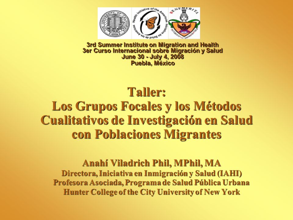 3rd Summer Institute on Migration and Health