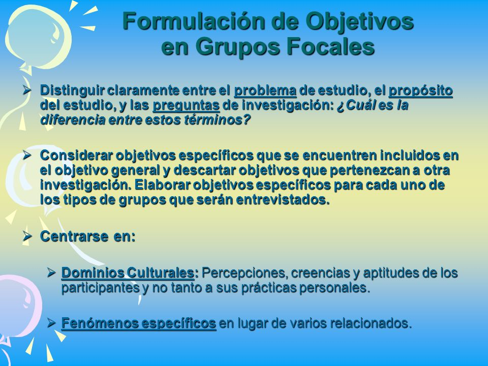 Formulación de Objetivos en Grupos Focales