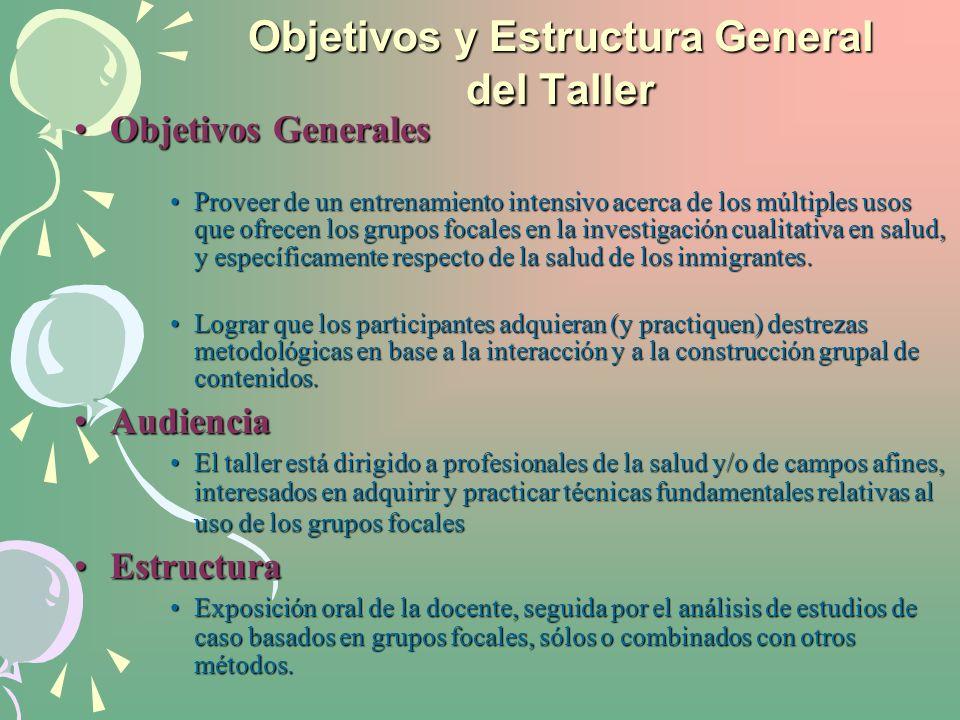 Objetivos y Estructura General del Taller