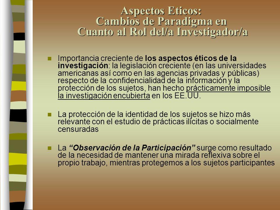 Aspectos Eticos: Cambios de Paradigma en Cuanto al Rol del/a Investigador/a