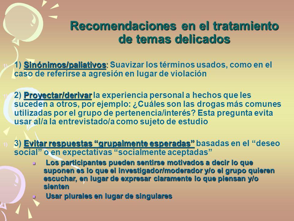 Recomendaciones en el tratamiento de temas delicados