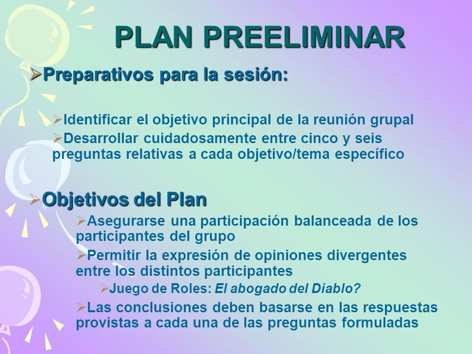 PLAN PREELIMINAR Preparativos para la sesión: Objetivos del Plan