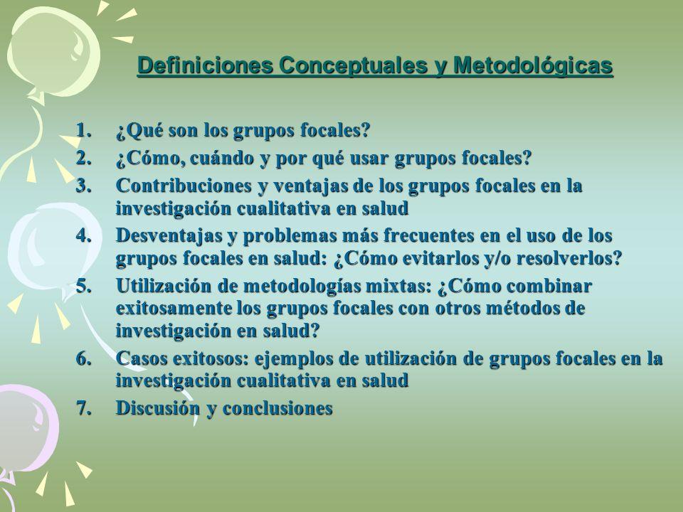 Definiciones Conceptuales y Metodológicas