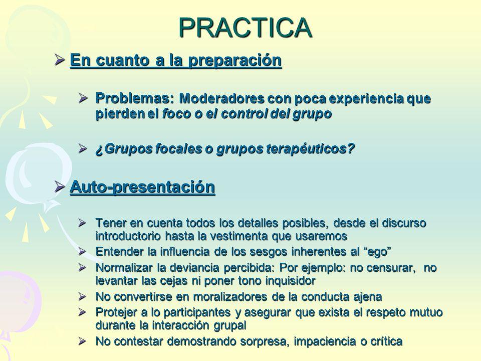 PRACTICA En cuanto a la preparación Auto-presentación