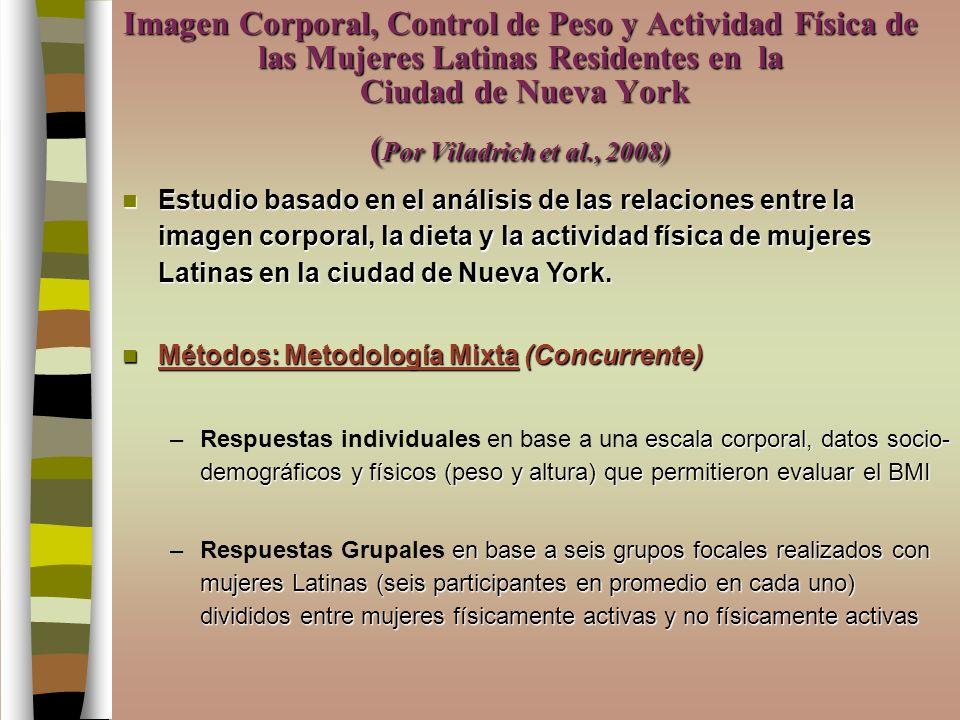 Imagen Corporal, Control de Peso y Actividad Física de las Mujeres Latinas Residentes en la Ciudad de Nueva York (Por Viladrich et al., 2008)