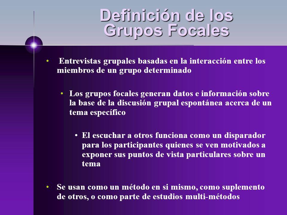Definición de los Grupos Focales