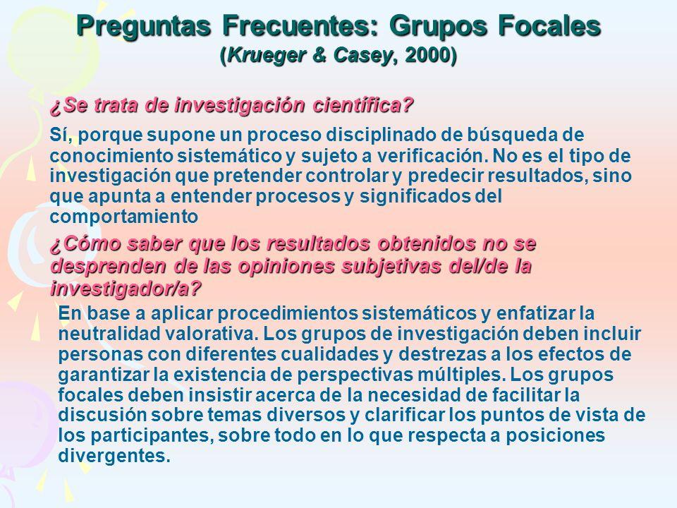 Preguntas Frecuentes: Grupos Focales (Krueger & Casey, 2000)