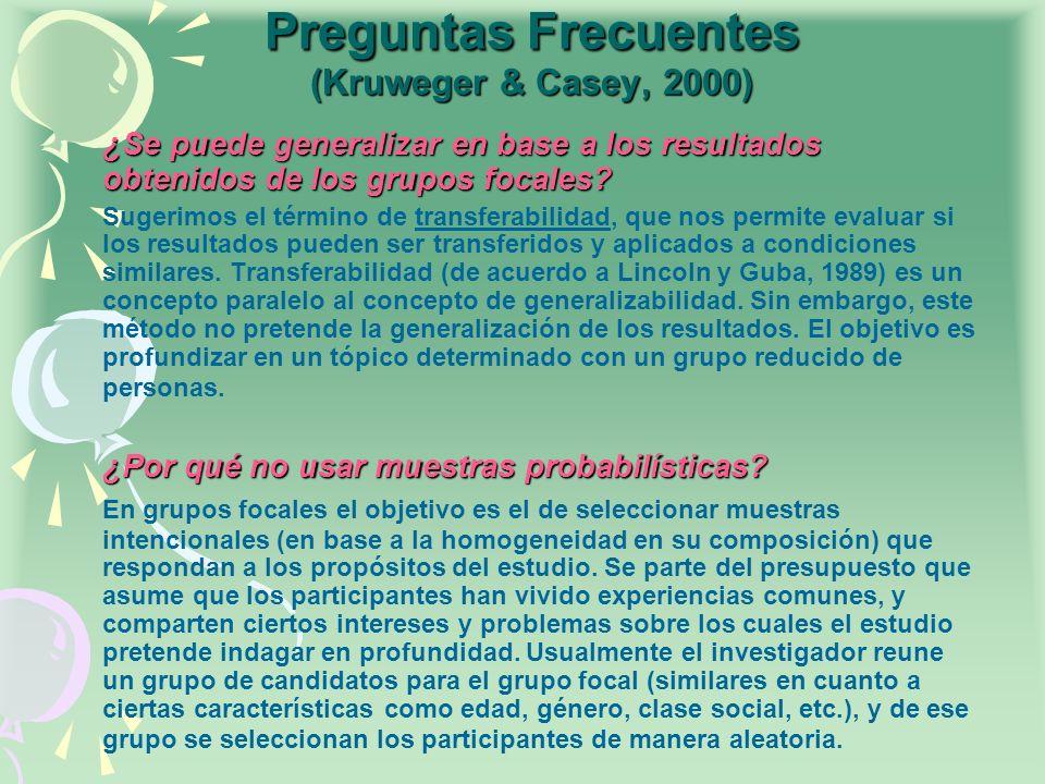 Preguntas Frecuentes (Kruweger & Casey, 2000)