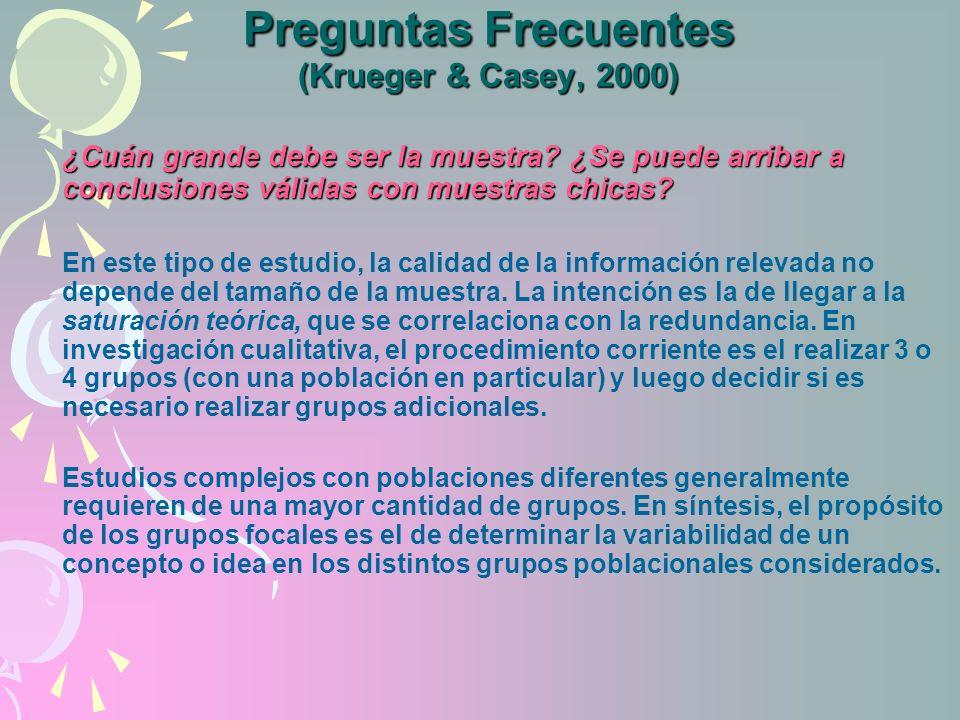 Preguntas Frecuentes (Krueger & Casey, 2000)