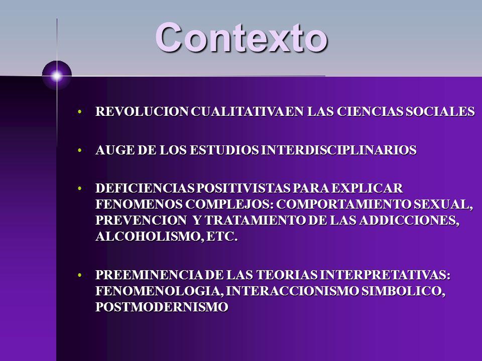 Contexto REVOLUCION CUALITATIVA EN LAS CIENCIAS SOCIALES