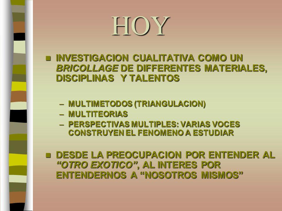 HOY INVESTIGACION CUALITATIVA COMO UN BRICOLLAGE DE DIFFERENTES MATERIALES, DISCIPLINAS Y TALENTOS.