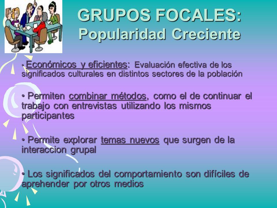 GRUPOS FOCALES: Popularidad Creciente