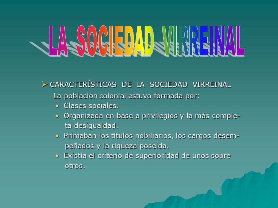 CARACTERÍSTICAS DE LA SOCIEDAD VIRREINAL