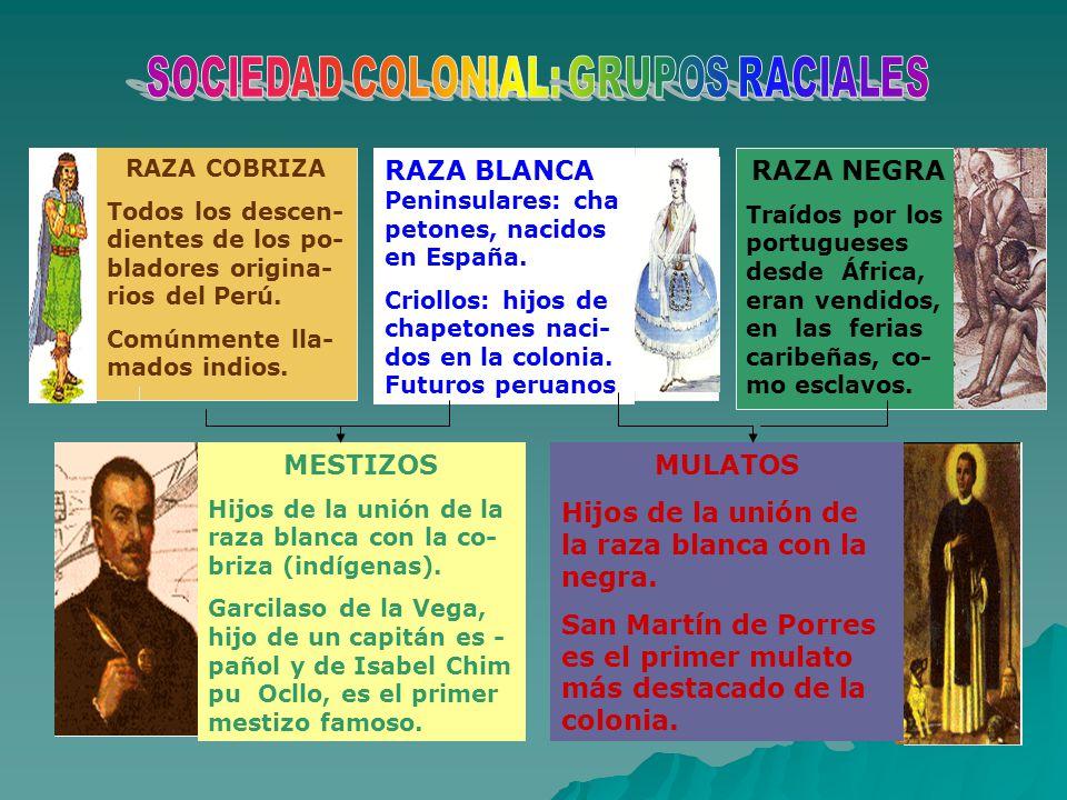 SOCIEDAD COLONIAL: GRUPOS RACIALES