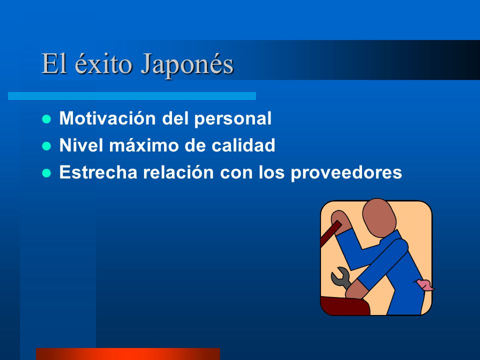 El éxito Japonés Motivación del personal Nivel máximo de calidad