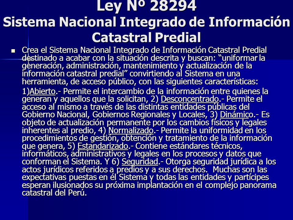 Ley Nº 28294 Sistema Nacional Integrado de Información Catastral Predial