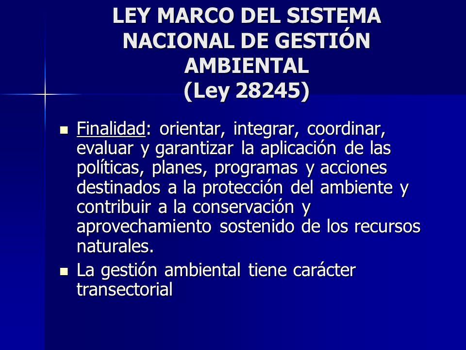 LEY MARCO DEL SISTEMA NACIONAL DE GESTIÓN AMBIENTAL (Ley 28245)