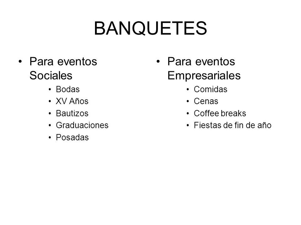 BANQUETES Para eventos Sociales Para eventos Empresariales Bodas