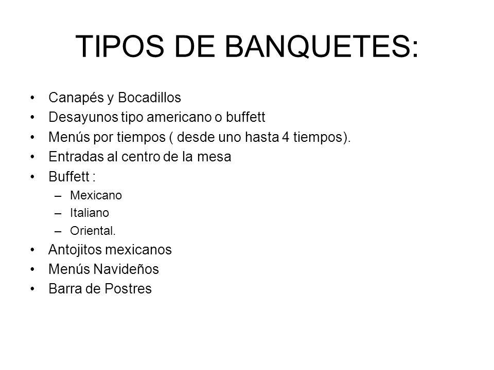 TIPOS DE BANQUETES: Canapés y Bocadillos