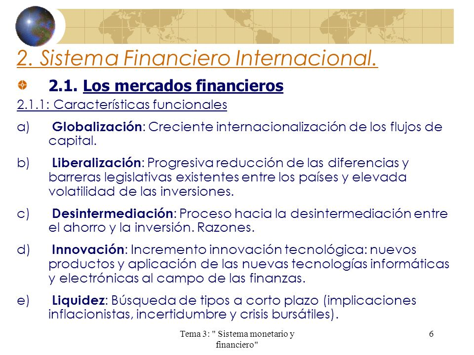2. Sistema Financiero Internacional.