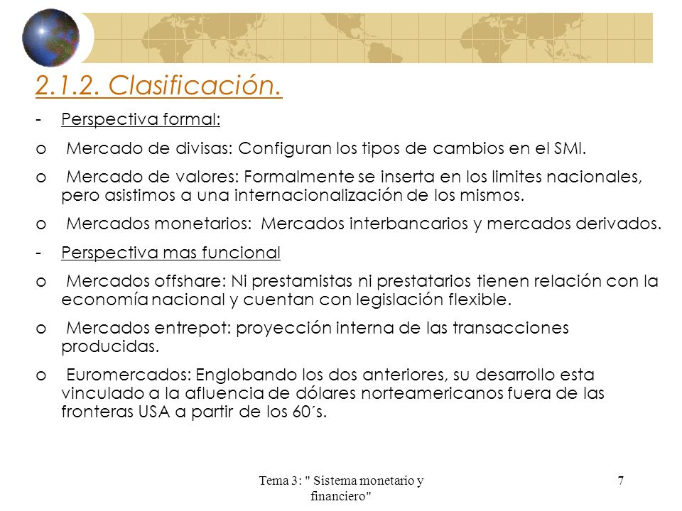 Tema 3: Sistema monetario y financiero