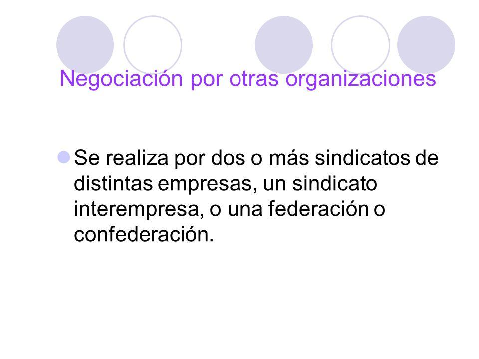 Negociación por otras organizaciones