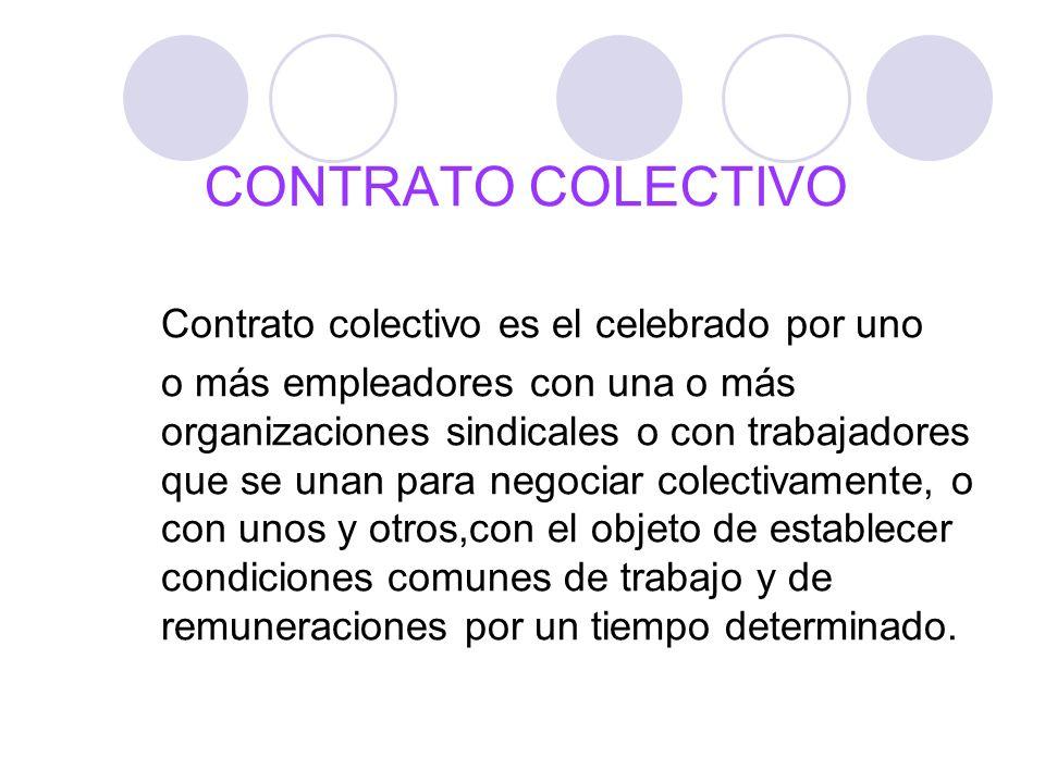 CONTRATO COLECTIVO Contrato colectivo es el celebrado por uno