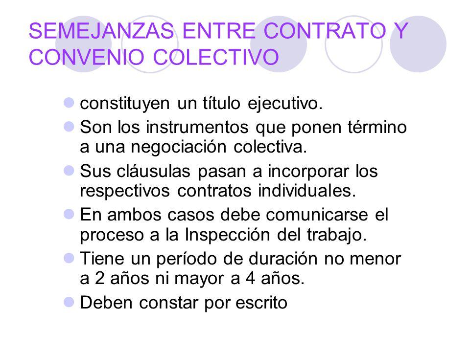SEMEJANZAS ENTRE CONTRATO Y CONVENIO COLECTIVO