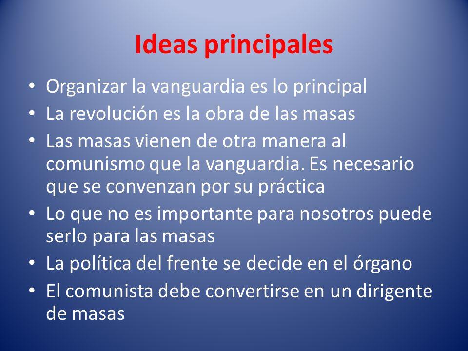 Ideas principales Organizar la vanguardia es lo principal