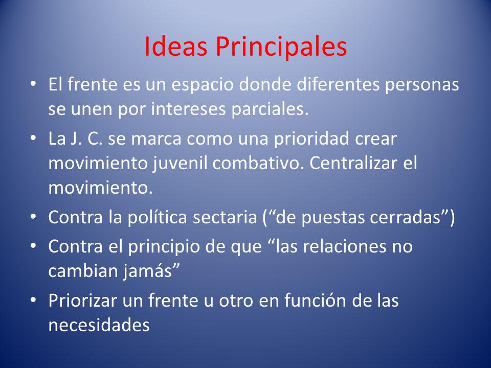 Ideas PrincipalesEl frente es un espacio donde diferentes personas se unen por intereses parciales.